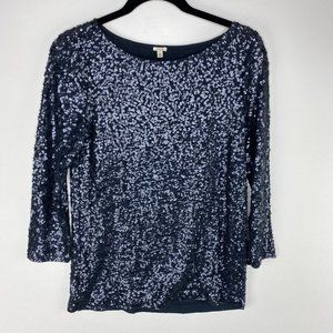 J crew drapey sequin navy top linen blend